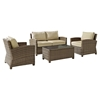 Bradenton 4-Piece Wicker Seating Set - Sand Cushions - CROS-KO70024WB-SA
