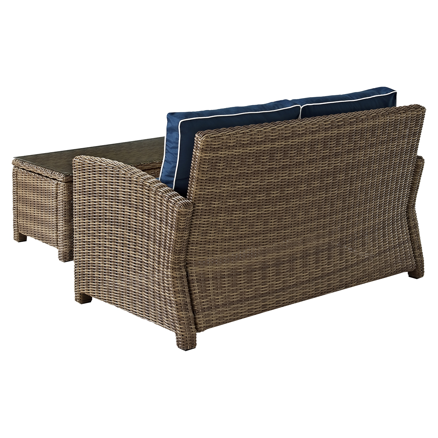 Bradenton Wicker Loveseat and Glass Top Table with Navy Cushions - CROS-KO70025WB-NV