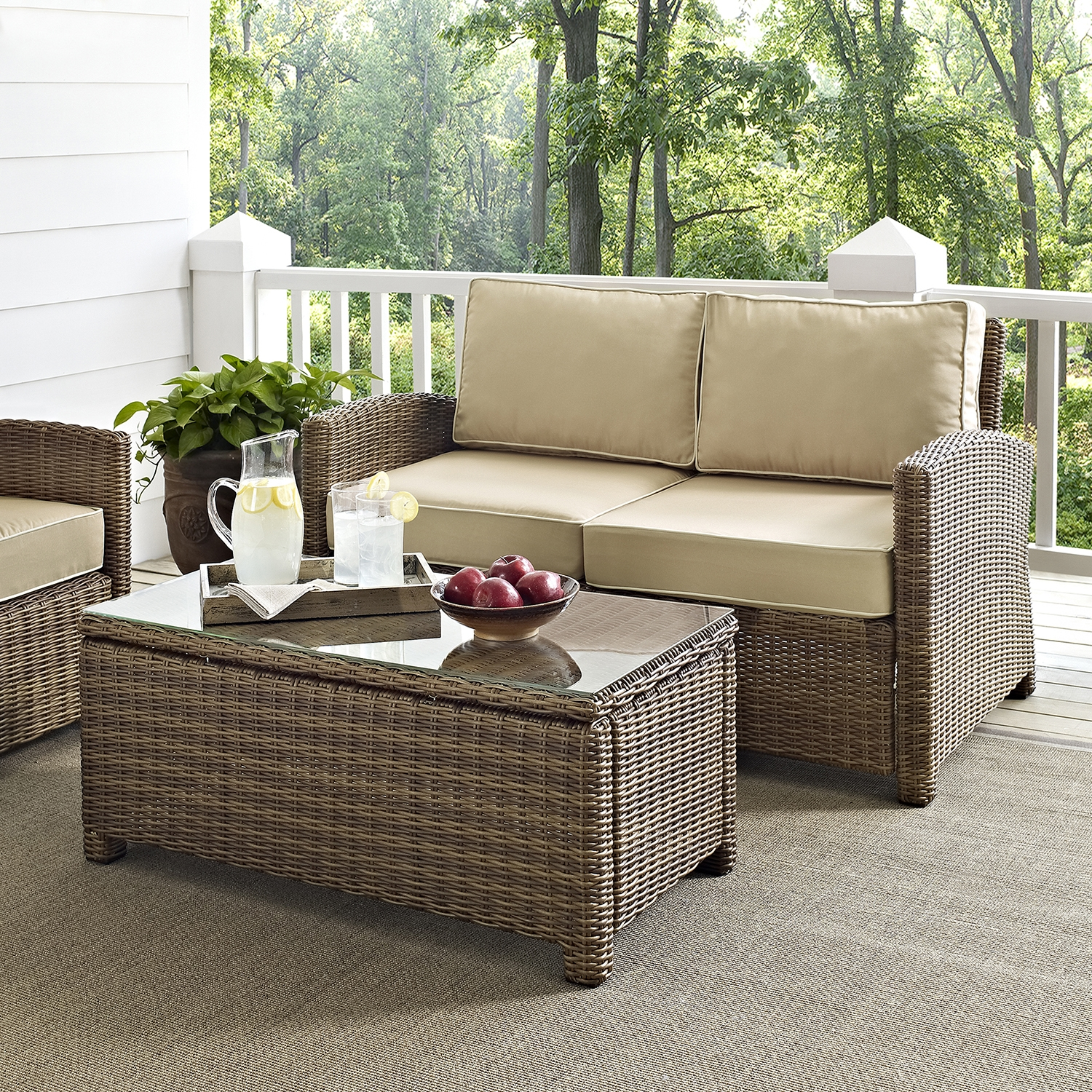Bradenton Wicker Loveseat and Glass Top Table with Sand Cushions - CROS-KO70025WB-SA
