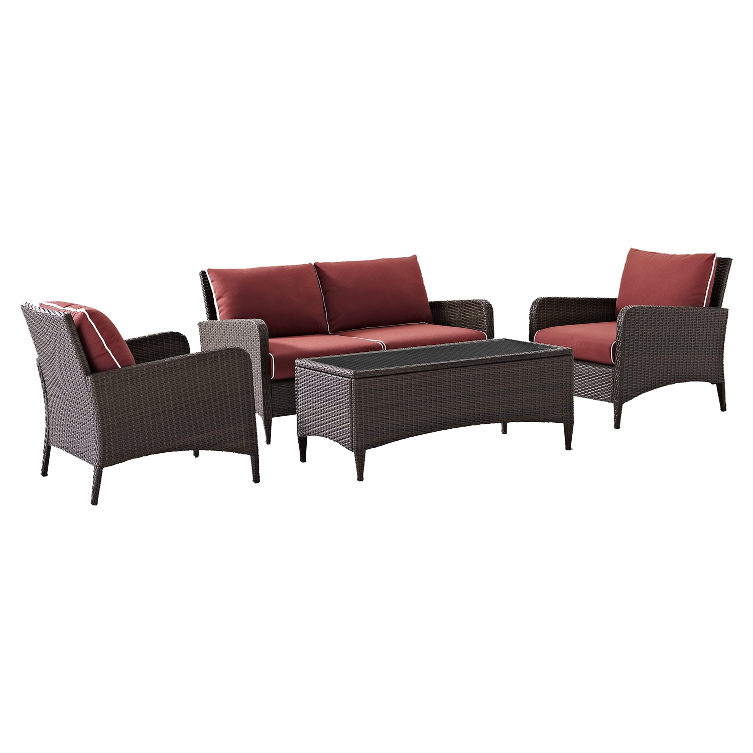 Kiawah 4-Piece Outdoor Wicker Seating Set with Sangria Cushions - CROS-KO70028BR