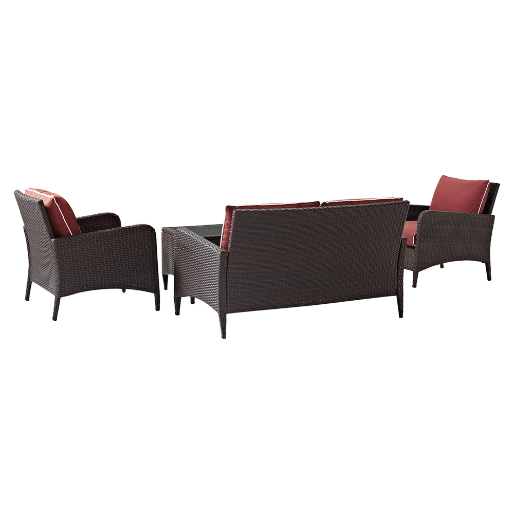 Kiawah 4 Piece Outdoor Wicker Seating Set With Sangria Cushions DCG Stores