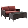 Kiawah 2-Piece Outdoor Wicker Loveseat and Table - Sangria Cushions - CROS-KO70029BR