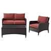 Kiawah 3-Piece Outdoor Wicker Seating Set - Sangria Cushions - CROS-KO70031BR