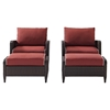 Kiawah 4-Piece Outdoor Wicker Arm Chairs and Ottomans - Sangria Cushions - CROS-KO70033BR