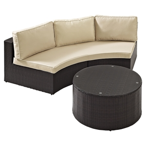 Catalina 2-Piece Outdoor Wicker Seating Set - Sand Cushions