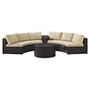 Catalina 4-Piece Outdoor Seating Set - Sand Cushions, Dark Brown Wicker - CROS-KO70035BR