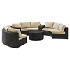 Catalina 6-Piece Outdoor Seating Set - Sand Cushions, Dark Brown Wicker - CROS-KO70036BR