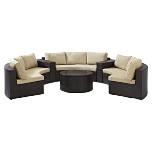 Catalina 6-Piece Outdoor Seating Set - Sand Cushions, Dark Brown Wicker