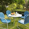 "Griffith Metal 40"" 5-Piece Outdoor Dining Set - Blue Chairs, White Table - CROS-KOD1002WH"