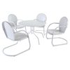"Griffith Metal 40"" 5-Piece Outdoor Dining Set - White Chairs, White Table - CROS-KOD1004WH"