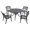 "Sedona 48"" 5-Piece Cast Aluminum Dining Set - Charcoal Black, Arm Chairs - CROS-KOD6001BK"