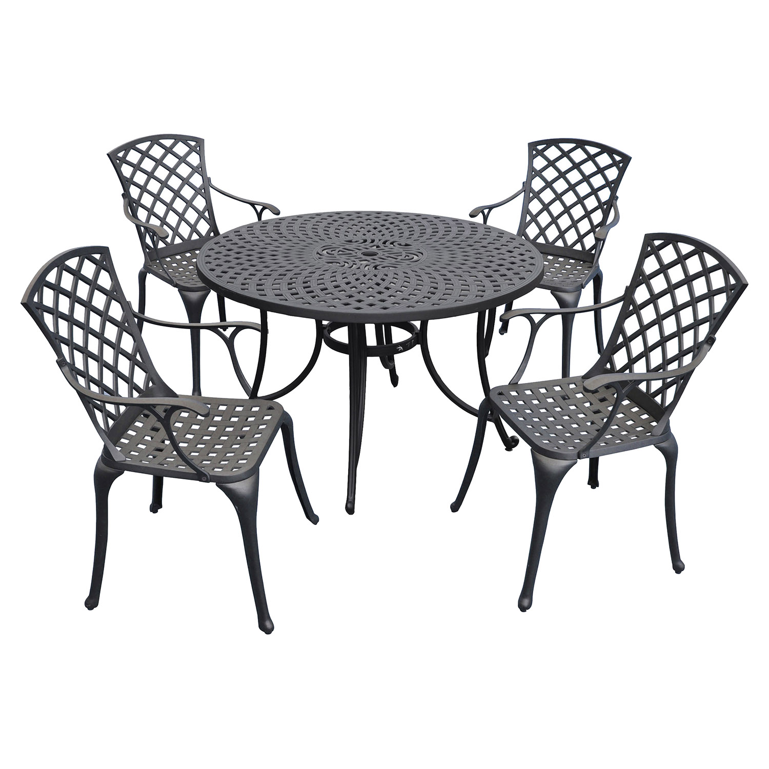 "Sedona 48"" 5-Piece Cast Aluminum Dining Set - Charcoal Black - CROS-KOD6002BK"