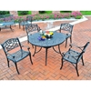 "Sedona 42"" 5-Piece Cast Aluminum Dining Set - Arm Chairs, Charcoal Black - CROS-KOD6003BK"