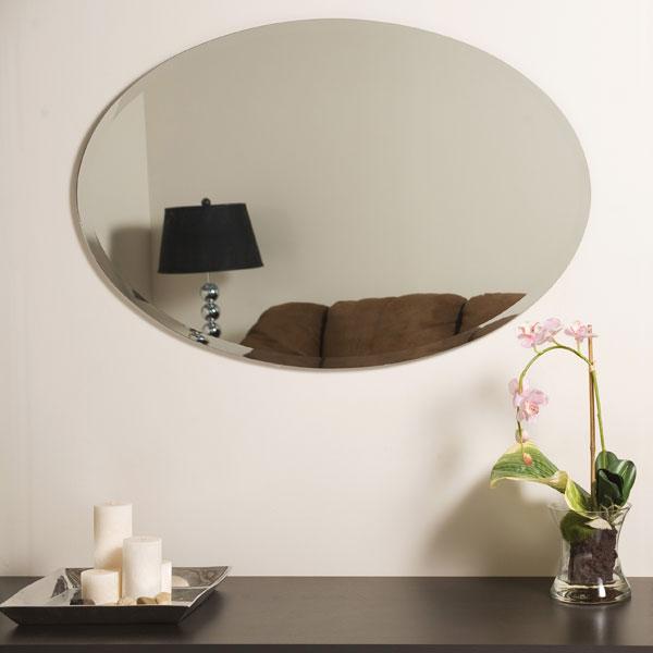 Oval Frameless Bathroom Mirror