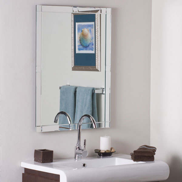 Contemporary large frameless wall mirror dcg stores for Large contemporary mirrors