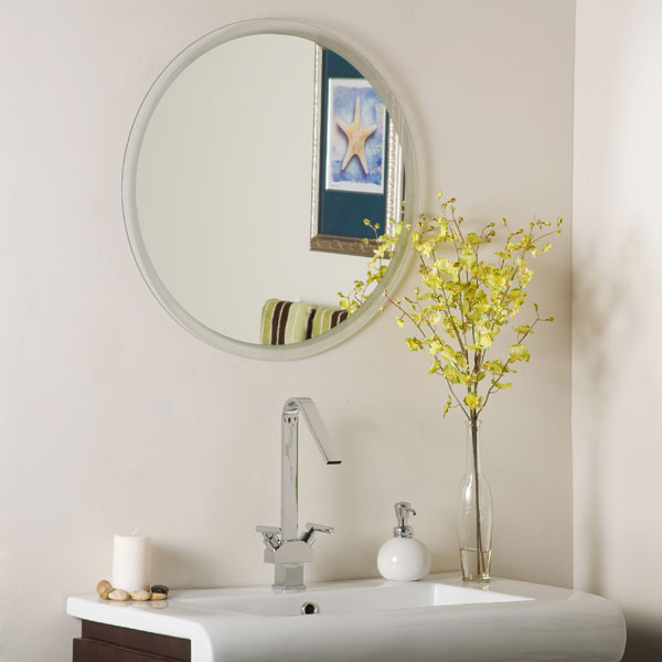 Frameless bathroom mirror large