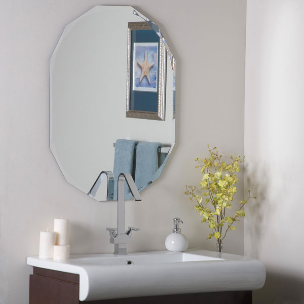 Oval shaped frameless wall mirror dcg stores - Oval wall decor ...