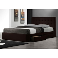 Marlowe Leather Platform Storage Bed in Espresso