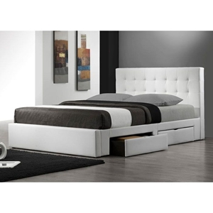 Marlowe Leather Platform Storage Bed in White