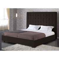 Delano Espresso Leather Platform Bed with Tufted Headboard