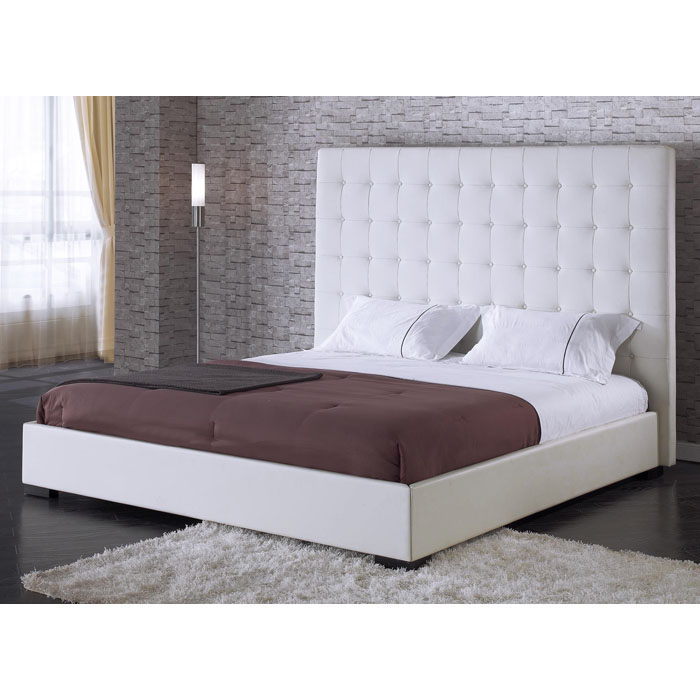 delano white leather platform bed with tufted headboard dcg stores. Black Bedroom Furniture Sets. Home Design Ideas