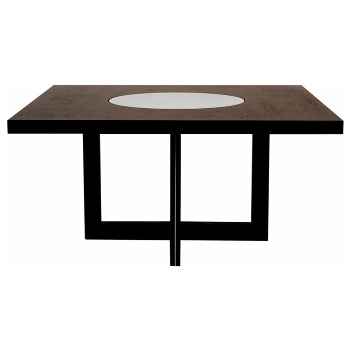 Square Dining Table with Crackled Glass Lazy Susan - DS-0382S-1