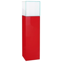 "64"" Square Tower Display Unit - Clear Glass, Red Lacquer"