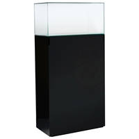 "64"" Rectangular Tower Display Unit - Clear Glass, Black Lacquer"