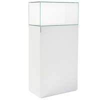 "64"" Rectangular Tower Display Unit - Clear Glass, White Lacquer"