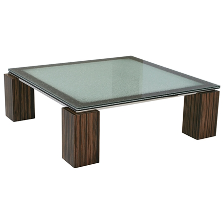 Square Coffee Table Crackled Glass Zebrano Wood DCG Stores