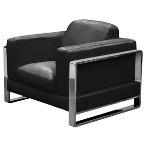 Annika Leatherette Sofa and Chair - Black