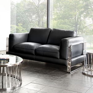 Annika Leatherette Loveseat - Black