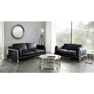 Annika Leatherette Sofa and Loveseat - Black
