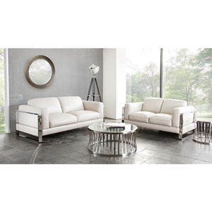 Annika Leatherette Sofa and Loveseat - White