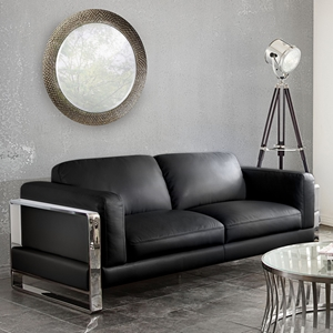 Annika Leatherette Sofa - Black