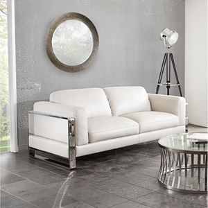 Annika Leatherette Sofa - White