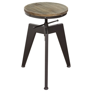 Austin Adjustable Height Stool - Weathered Gray, Black (Set of 2)