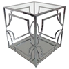 Avalon Square End Table - Clear Glass Top, Mirrored Shelf - DS-AVALONET