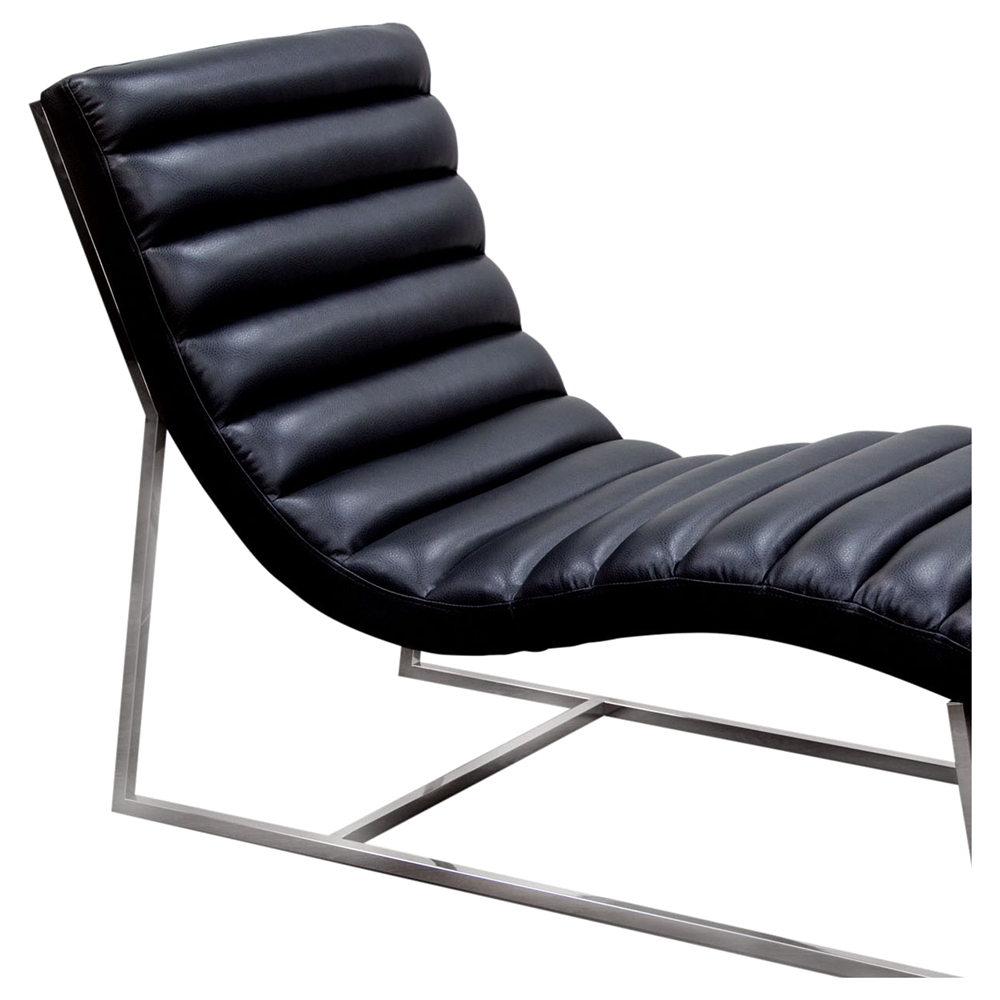 Bardot chaise lounge bonded leather black dcg stores for Chaise lounge black