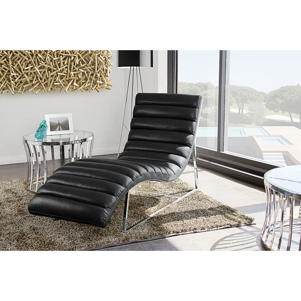 Bardot chaise lounge bonded leather black dcg stores for Black chaise lounger