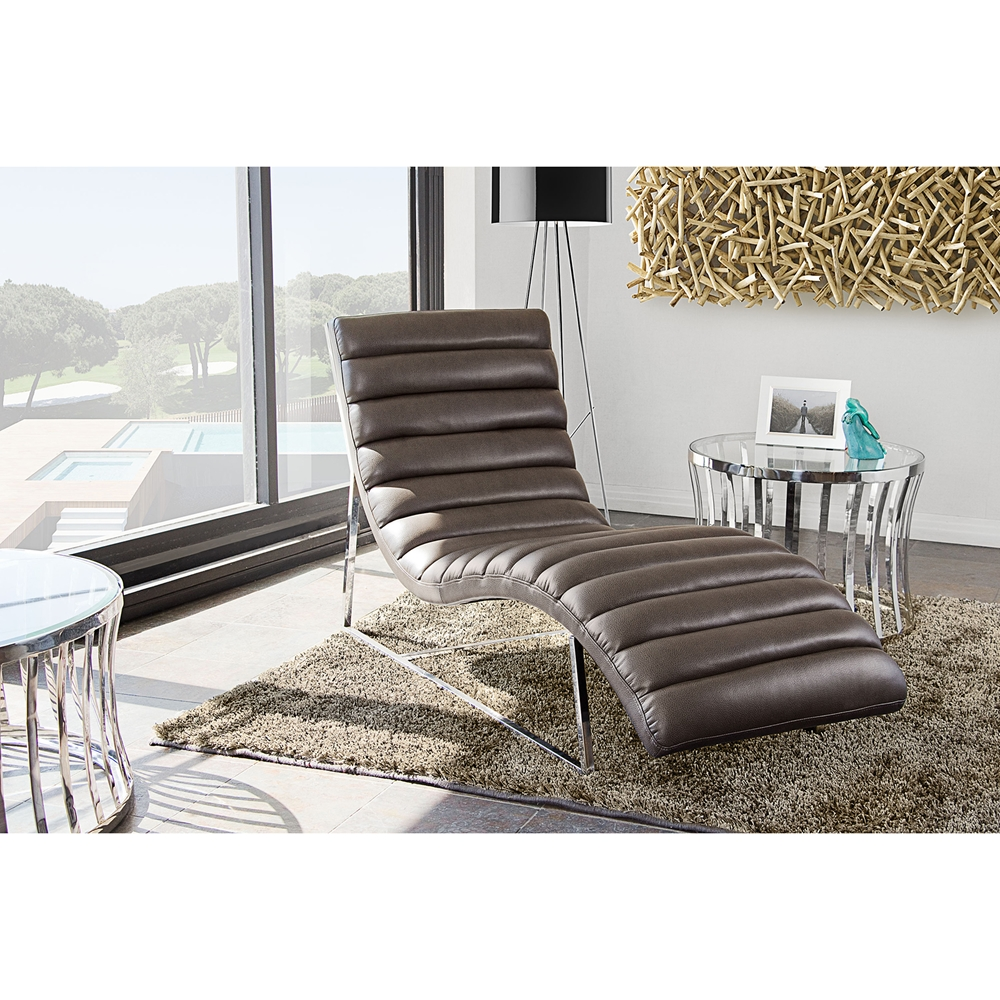 Bardot chaise lounge bonded leather gray dcg stores for Bonded leather chaise lounge