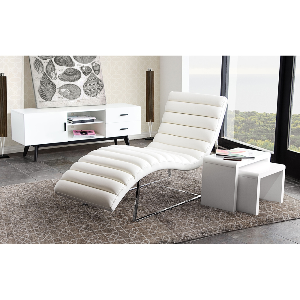 Bardot chaise lounge bonded leather white dcg stores for Bonded leather chaise lounge