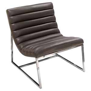 Bardot Lounge Chair - Bonded Leather, Gray