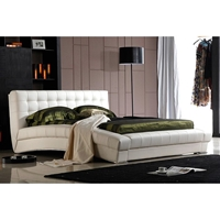 Bel Aire Curved Platform Bed - Tufted, White Leather