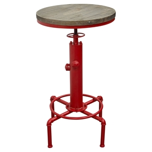 Brooklyn Adjustable Height Bistro Table - Weathered Gray, Red