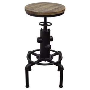 Brooklyn Adjustable Height Stool - Weathered Gray, Black