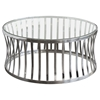 Capri Round Cocktail Table - Clear Tempered Glass Top, Stainless Steel - DS-CAPRICTST