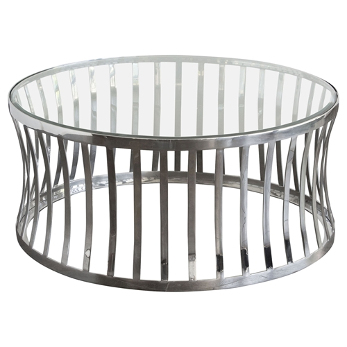 Small Tempered Glass Coffee Table: Capri Round Cocktail Table
