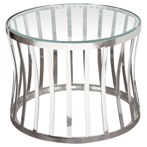 Capri Round End Table - Clear Tempered Glass Top, Stainless Steel