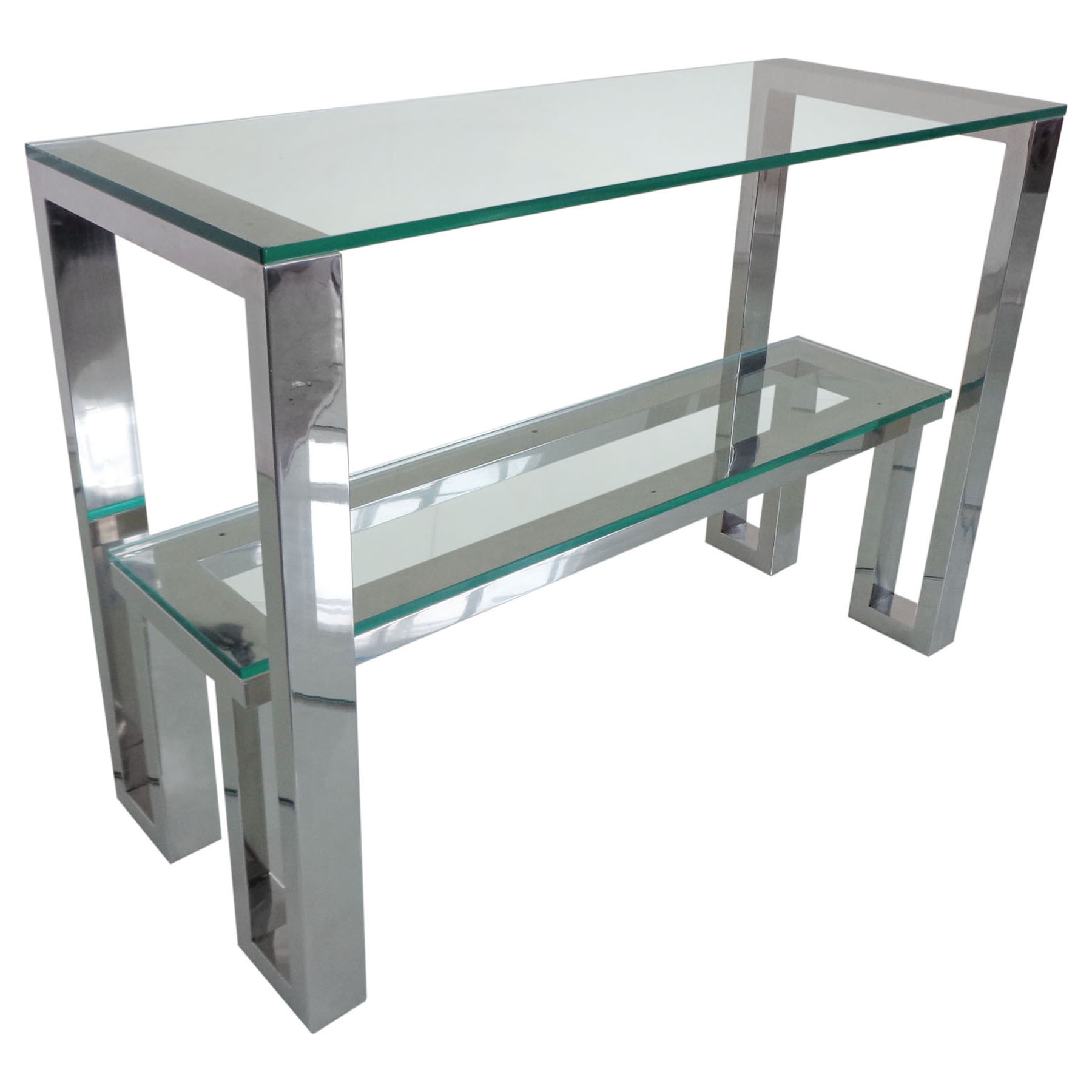 Carlsbad Console Table Clear Glass Top Shelf Dcg Stores